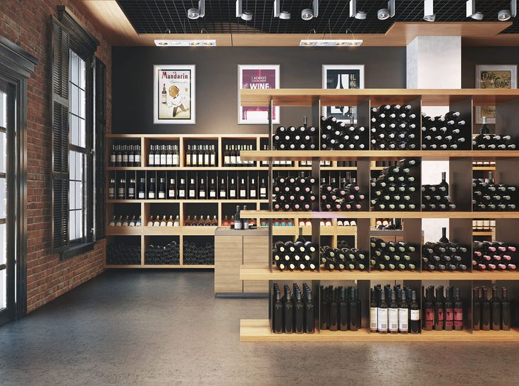 """Wine store"" visualization by Viarde.  Love the brick with the black wood or iron work"