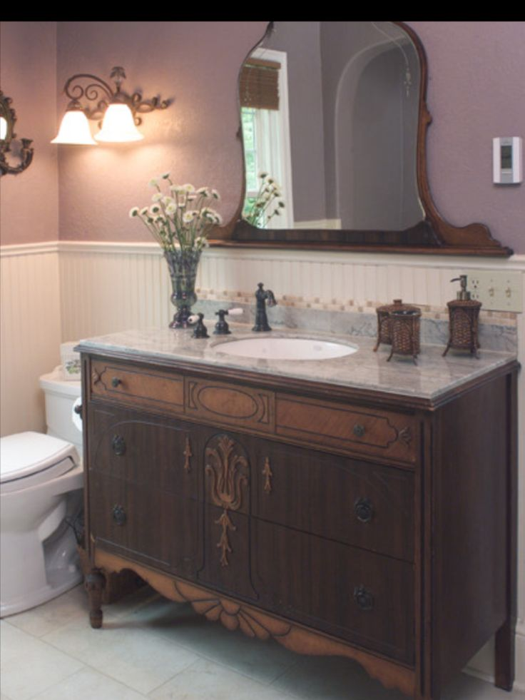 Vintage dresser turned sink - I would love to do this!