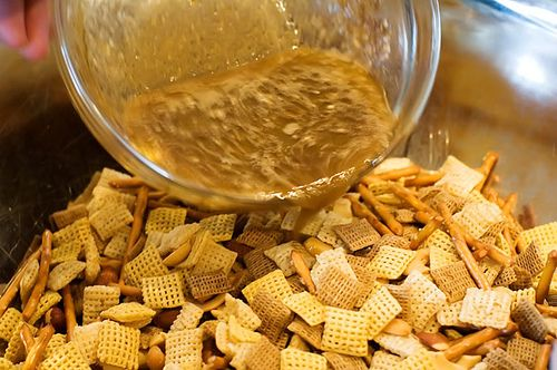 Pioneer Woman's Chex Mix recipe, a must for snow days. I keep all the ingredients ready for the days school is canceled. I like to add some lemon pepper for extra zing.