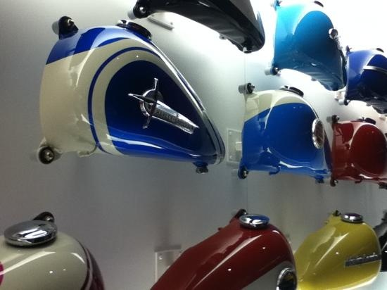 Harley-Davidson Museum: wall of gas tanks