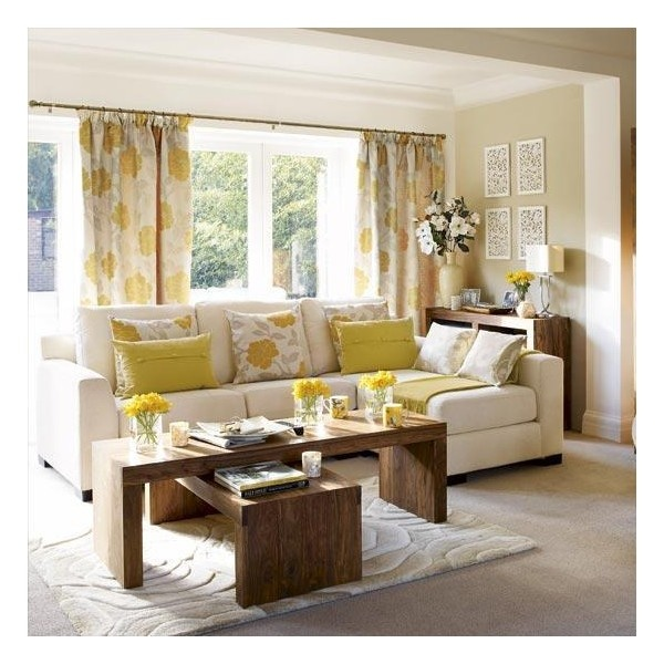 Living rooms curtains yellow brown living room yellow for Yellow brown living room ideas