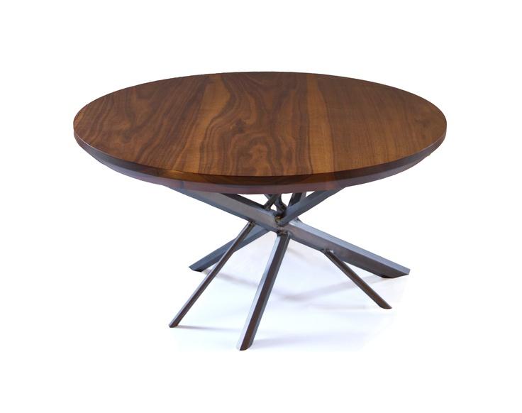 Kaos coffee table, made of hexagon steel and Walnut