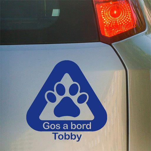 Original vinilo para tu coche Gos a bord, personalizable con el nombre de tu perro.