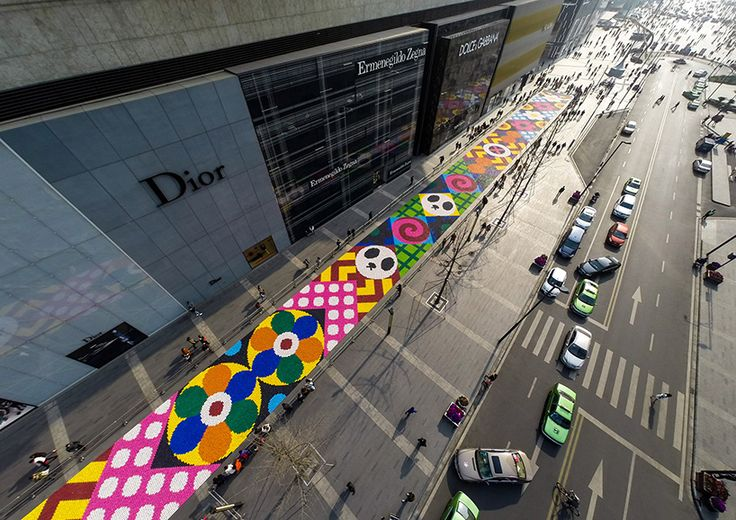 craig & karl stretch candy carpet along chengdu street in china