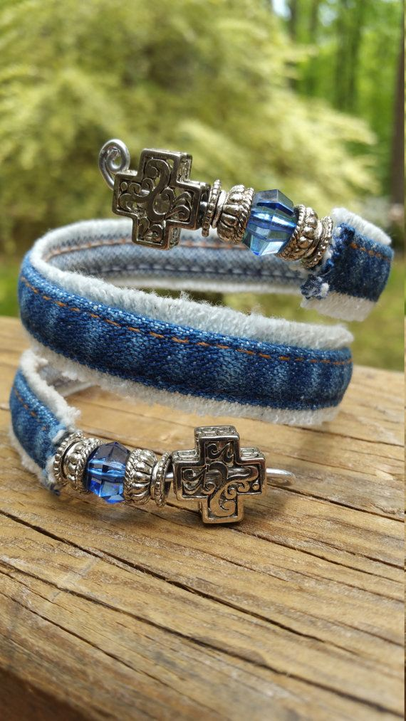 Upcycled Denim Wrap Bracelet by DenimReDooz on Etsy