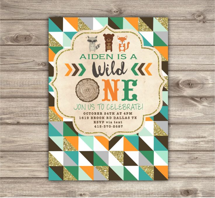 Wild One Birthday Invitations Geometric Rustic First