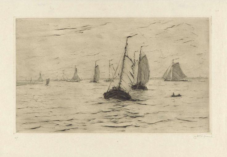 Carel Nicolaas Storm van 's-Gravesande | Schepen op de Maas, Carel Nicolaas Storm van 's-Gravesande, 1869 - 1902 | Zeilschepen op de rivier de Maas.