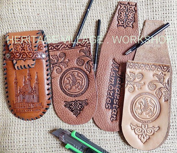 Handmade leather spectacle-case with Tatarstan  symbol  and  Qolşärif Mosque . #tatarstan , #Qolşärif
