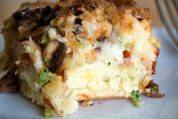 Savoury bread pudding.  I like to go off piste with the ingredients, it's very forgiving.