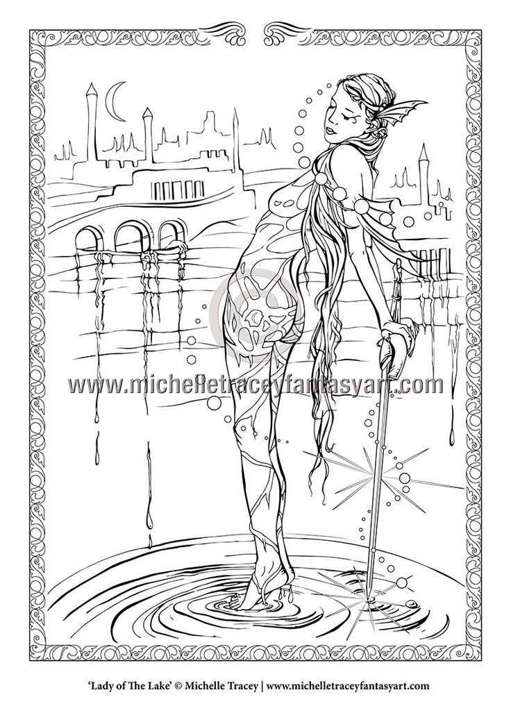 Fantasy Coloring Pages 'Lady of The Lake' by