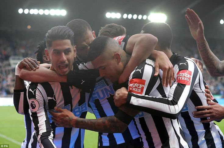 The Newcastle players showed just what it means to them as they celebrate with goalscorer Perez in the second half