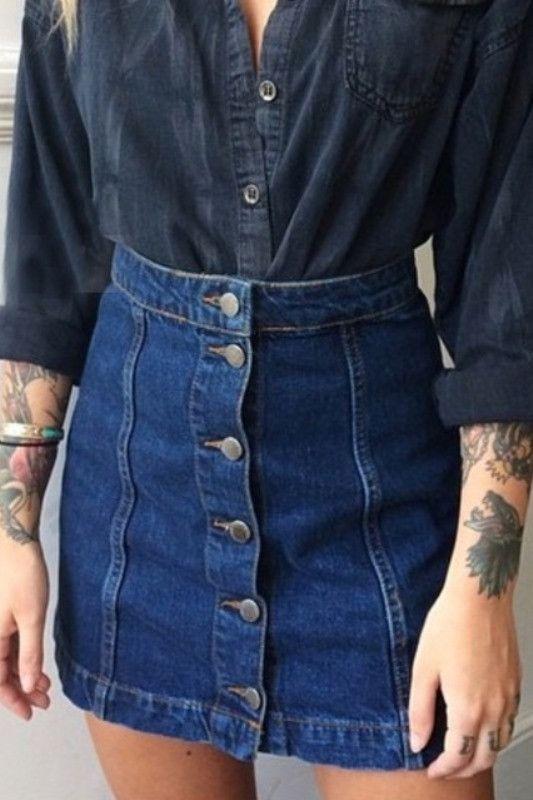 Blue Denim A-Line Button Front Mini Skirt