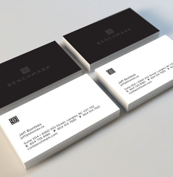Benchmark Homes logo, stationery, business card design. #developer #homebuilder #newhomeconstruction #showhomes #residential #commercial #realestate #LowerMainland #company Branding and web design by #Studiothink / Vancouver, BC #SurreyBC #branding #design #stationery #brochure #website #webdesign #creative #agency