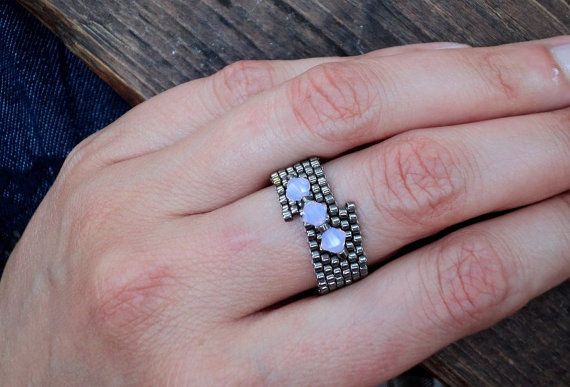 Beaded ring from Miyuki Delica beads silver color by ThracianSun