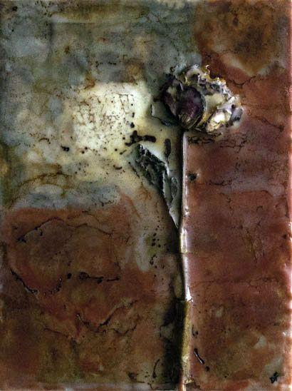 The-rose ~ Mixed Media – Collage / Encaustic / Oil Sticks  9x12  ©Dora Ficher -SOLD ©Dora Ficher
