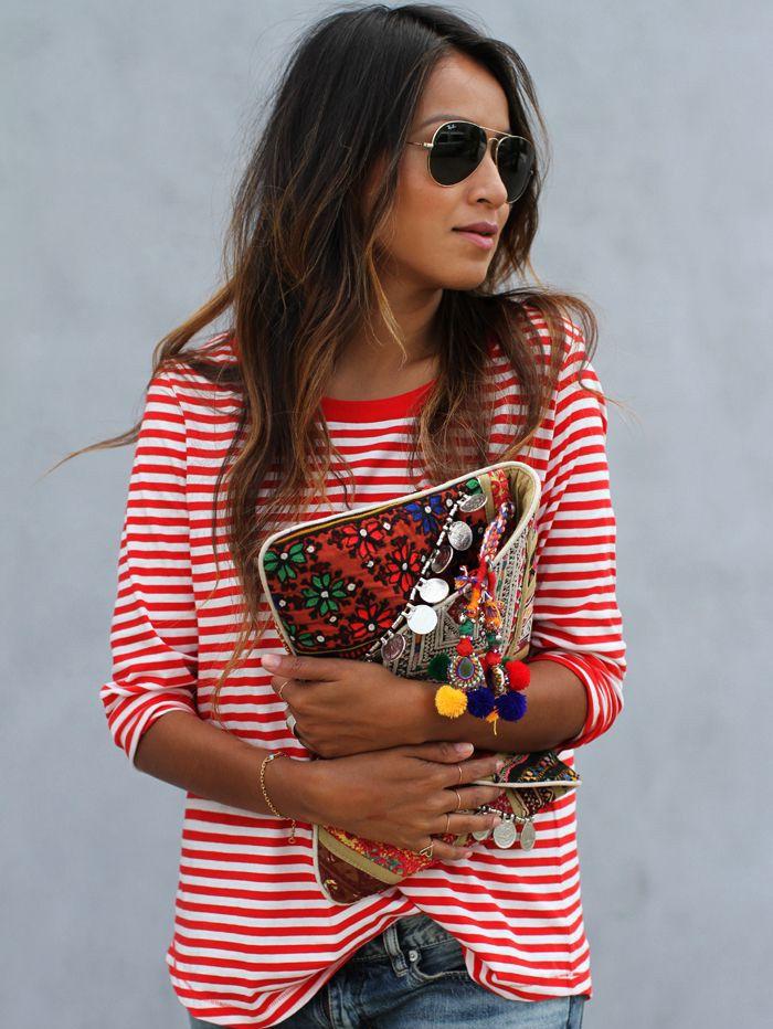 T-shirt à rayures manche longue -rouge blanc-French SheIn(Sheinside)