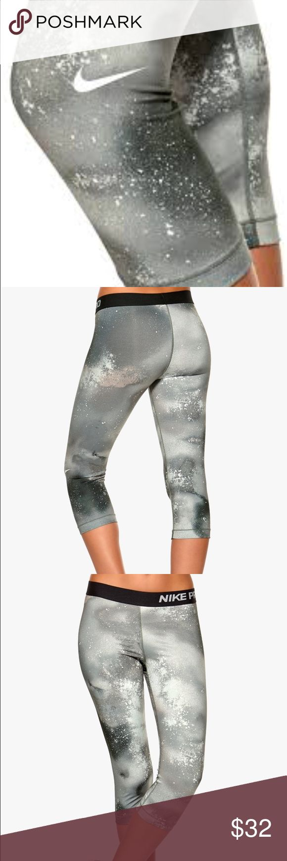 Nike Pro Capri Nike  Pro Fit  Dri Fit Capri  Splatter Print  Size XS  New with tags  Gray/Black Wide Elastic Waist Band  Logo on leg and waist  Polyester/Elastane Nike Pants Capris