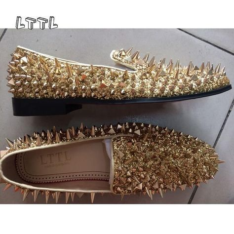 Cheap loafers slip on, Buy Quality loafers men directly from China loafers spike Suppliers: LTTL 2017 New Men Shinny Glitter flats shoes BLACK Sliver Gold spiked mens loafers slip on Loafers Rivets Men Casual Shoes
