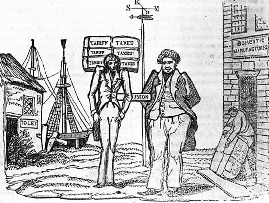 (The Nullification Crisis) dispute over a Protective tariff designed to increase taxes on imports to make foreign goods more expensive than goods produced in US. This only benefited the North industries, but increased prices for goods that SC purchased from either Northern or European businesses.