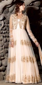 Glowing Net Off-White Anarkali Suit With Dupatta.