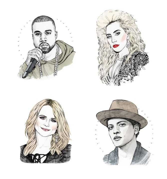 Billboard 2016 Fall Music Preview ( Lady Gaga Kanye West Miranda Lambert Bruno Mars Billboard ) - Helen Green Illustration