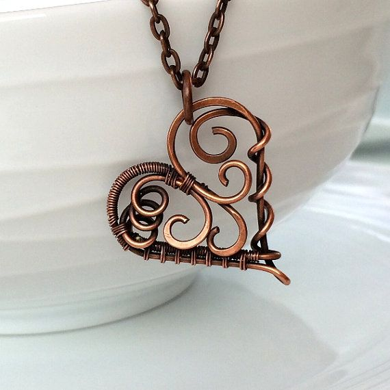 Copper Scroll Heart Necklace | Copper Wire Wrapped Heart Pendant | Unique Heart Jewelry | Valentines Day Gifts for Her |  Jewellery UK