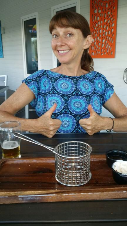 Beer and wedges at Bills, Coral Bay.. Winning!