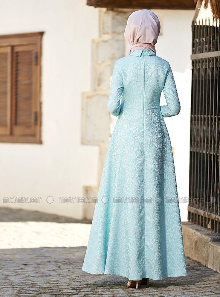 Asude Brokar Elbise - Mavi - Nilüfer Kamacıoğlu