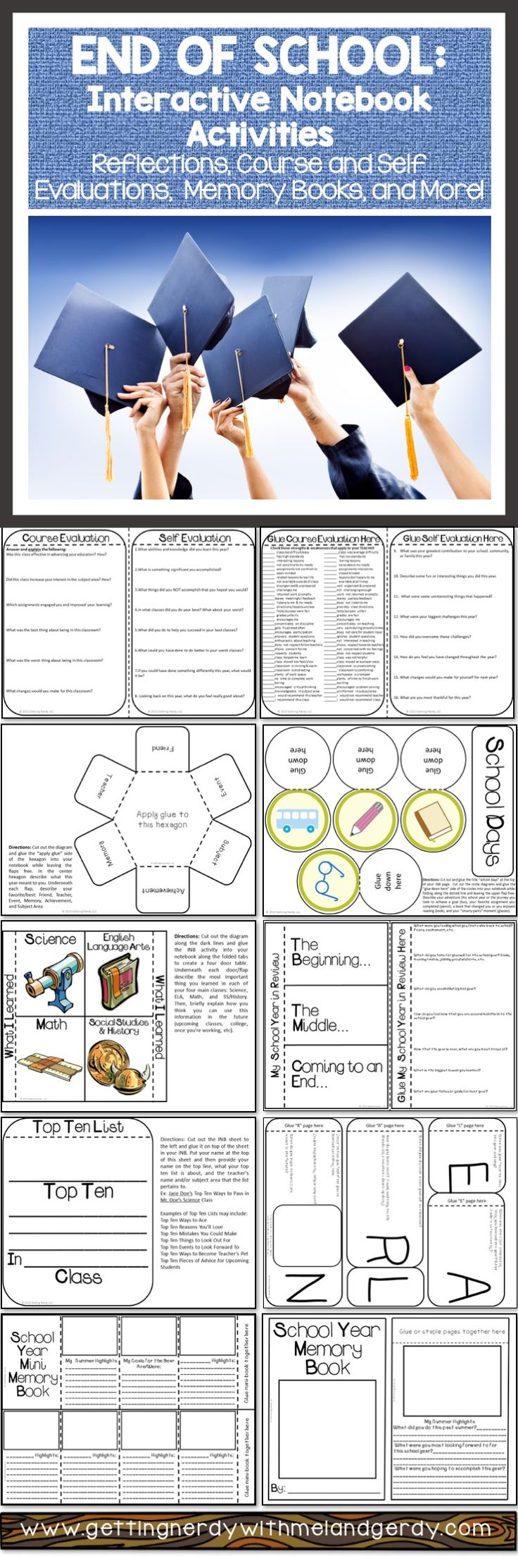 Awesome End of Year activity pack for interactive notebooks - reflective activities for any subject!