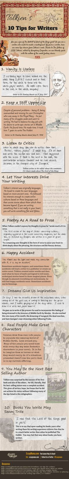 #writing J.R.R. Tolkien's Writing Tips (Infographic)