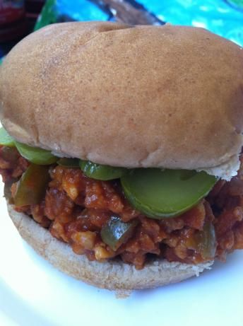 """Tvp Vegan Sloppy Joes from Food.com: This is the recipe from """"The New Farm Vegetarian Cookbook"""". SO EASY!!! My kids have always loved this, they are 15 and 11. Originally it called for 3TBS oil, I use 2, but I'm sure you could use less. A little indulgence doesn't hurt. I use olive oil because I LOVE it."""