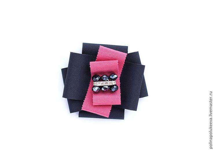 """Брошь """"Pink Crystal"""" - брошь,стекло,кристаллы,синий,розовый,брошь из лент"""