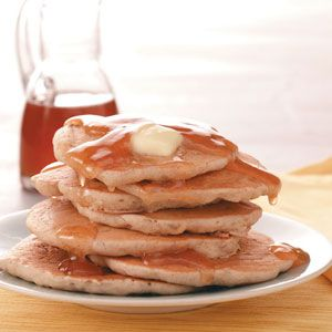 Sweet Apple Pancakes with Cider Syrup from Taste of Home -- shared by Janet Vardaman, Zephyrhills, Florida