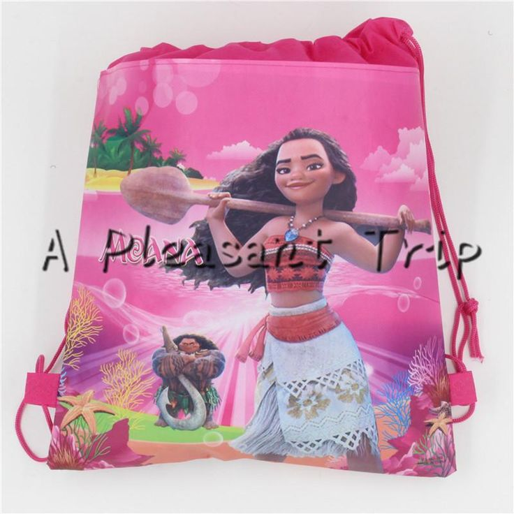 [Visit to Buy] 1PC\lot Moana Theme Gift Bags Kids Favors Baby Shower Non-Woven Fabric Drawstring Backpack Party Decoration Birthday Supplies #Advertisement