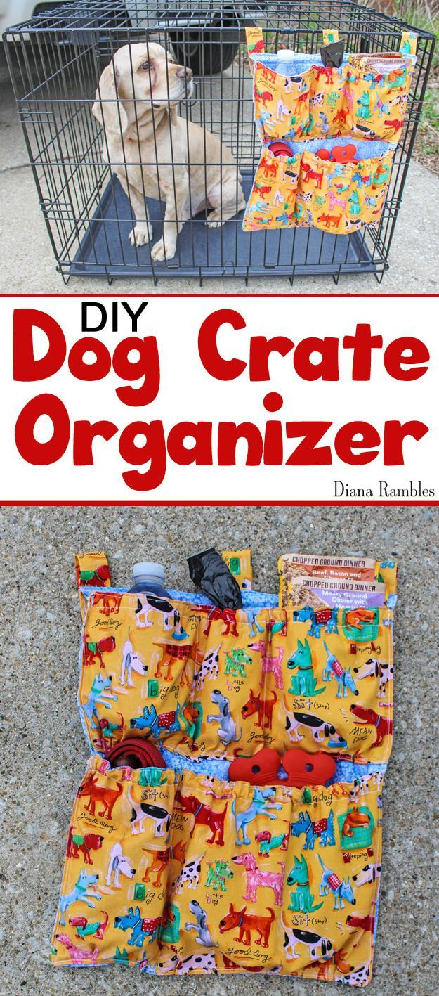 DIY Dog Crate Organizer Sewing Tutorial - Are you on the go with your pet? Create this Dog Crate Organizer that attached to the outside of a pet carrier to hold food, water, and pet supplies. It's perfect for car travel and camping. [ad] #PedigreeMoments @walmart