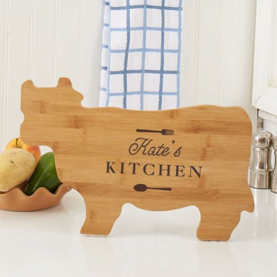 Engraved Any Message Cow Shaped Cutting Board carving board