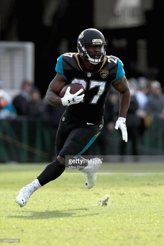 Running Back Leonard Fournette Of The Jacksonville Jaguars Runs With Jacksonville Jaguars Running Back Jaguars