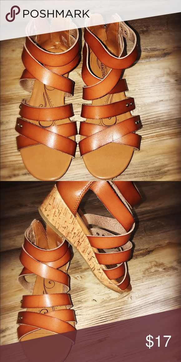 Super Cute Girl's Wedge Heels! Great condition, Kenneth Cole Reaction. Camel/Brown Kenneth Cole Reaction Shoes Sandals & Flip Flops