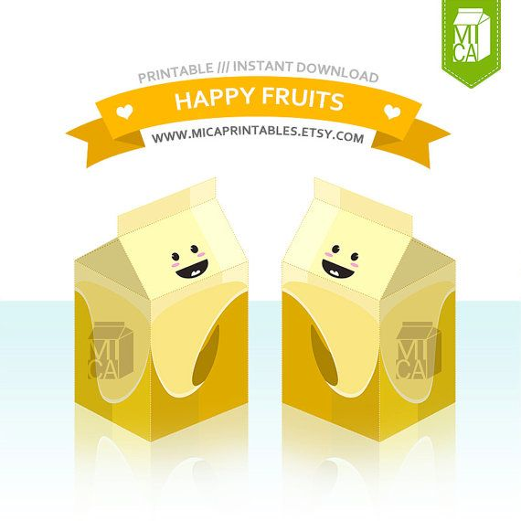 Happy Fruits Printable Party Favor Treat Gift by MicaPrintables #banana #fruit #cute #favor