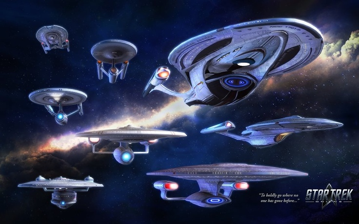 All of the variations of the Starship Enterprise from the NX-01 through the 1701 F