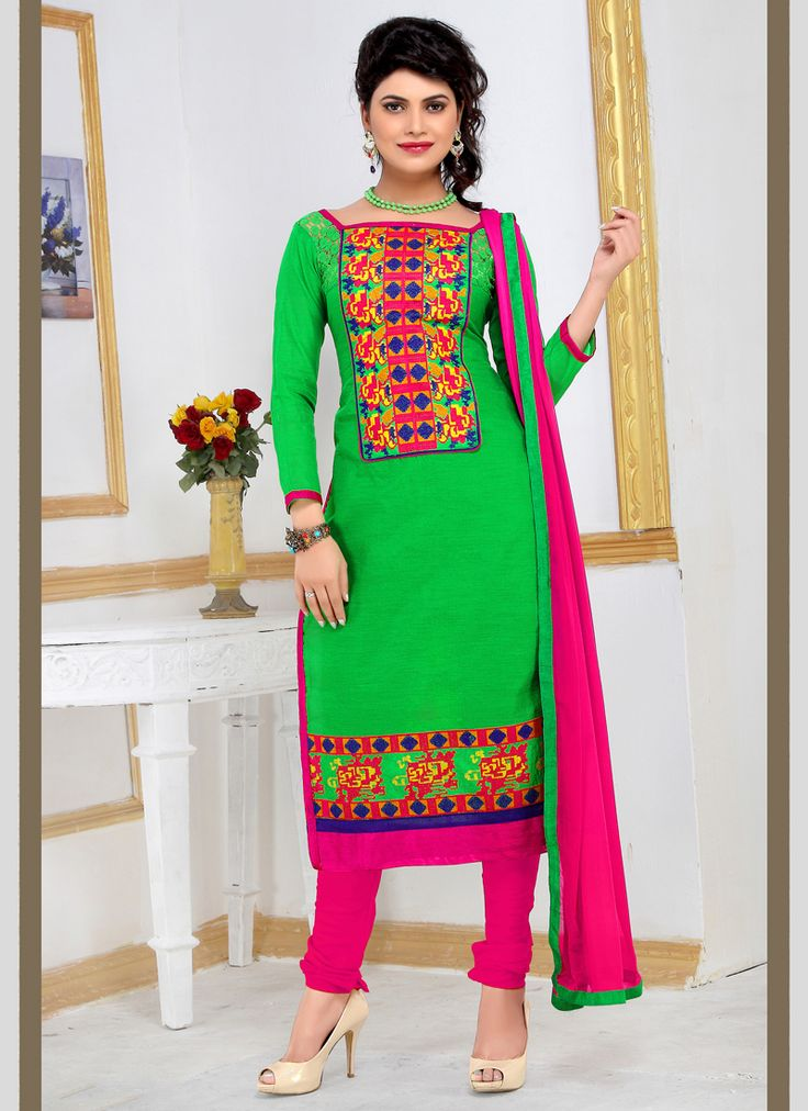 Buy latest indian salwar kameez, designer salwar kameez, salwar suits online. Grab this lively green churidar designer suit for festival and party