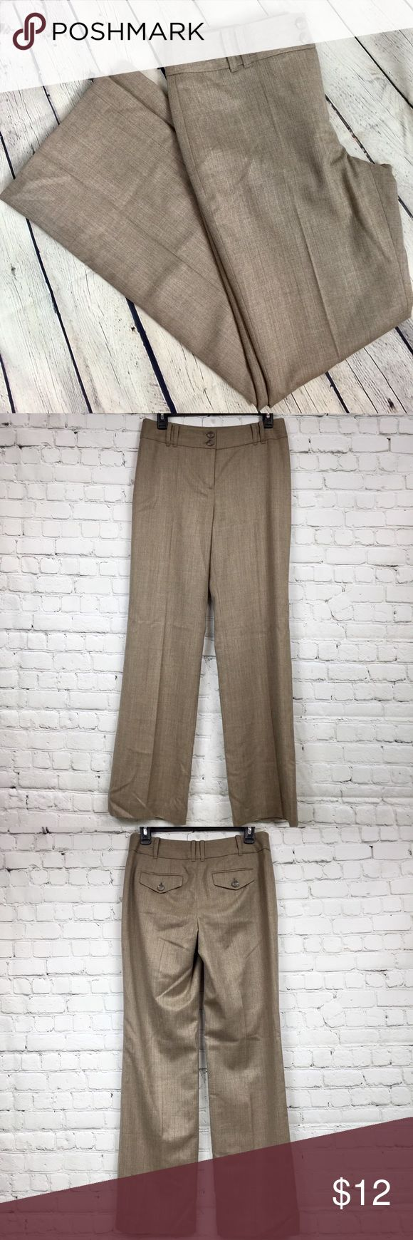 """Ann Taylor Loft career wear dress pants/slacks Sz2 Ann Taylor Loft career wear dress pants/slacks Trousers Size 2 Light brown color  100% wool Fully lined Dry clean See pic with arrow for minor imperfection on inside of pants (next to tag). This is not visible on exterior of pants. Waist 14 1/4"""" Rise 9 1/4"""" Inseam 31 1/2"""" LOFT Pants Trousers"""