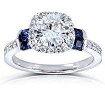 Round-cut Moissanite Diamond & Blue Sapphire Engagement Ring 1 3/5 Carat (ctw) in 14k White Gold