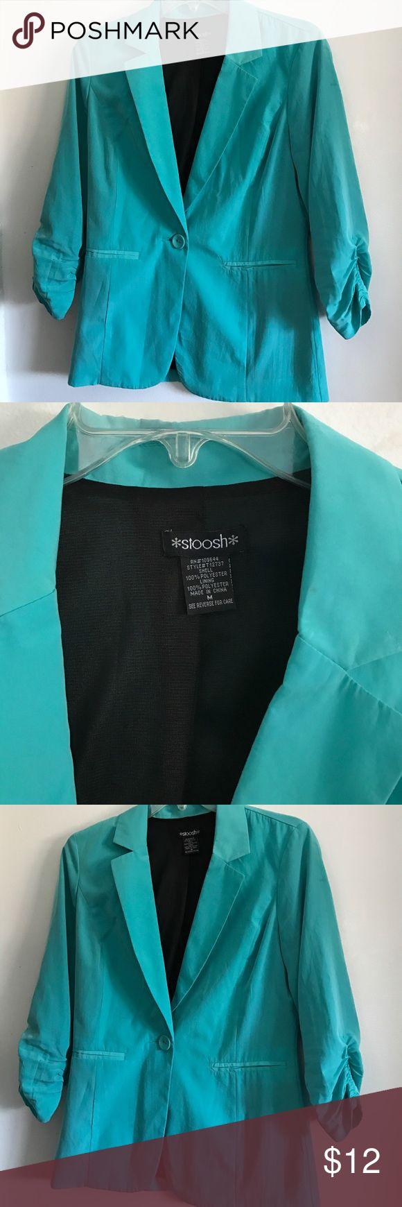 Super soft Rauched sleeves Turquoise blazer Very nice soft 55% linen, 45% rayon  turquoise blazer. Stoosh Jackets & Coats Blazers