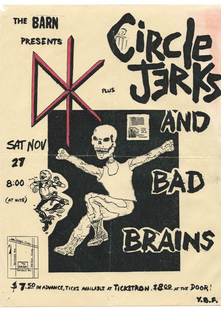 Punk hardcore flyer for insane line-up of theDead Kennedy's, Circle Jerks and Bad Brains at The Barn