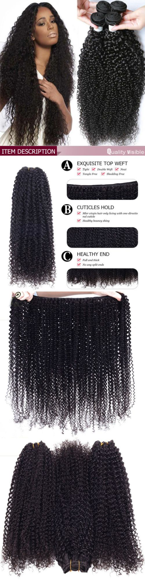 Hair Extensions: Us 3 Bundles 300G Kinky Curly Weave Virgin Human Hair 100% Unprocessed Brazilian -> BUY IT NOW ONLY: $36.73 on eBay!