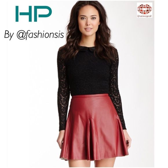 ⭐️HP⭐️ LEATHER RED CIRCLE SKIRT Walter Baker Gorgeous flirty burgundy faux leather skirt from Nordstrom by Walter Baker. Perfect for the Fall. Looks great with boots and light jacket or cardigan.Features: comfortable banded waist, back zip with button closure, fully lined, unfinished hems. Fiber Content: Shell: 100% polyurethane coated viscose Lining: 97% polyester, 3% spandex.                        Size: M. True to size. ♦️New With Tag♦️ Walter Baker Skirts Circle & Skater