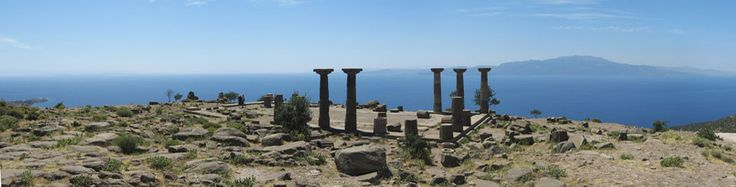 View of the beautiful acropolis of Assos, facing the Aegean Sea. Assos is at just 40 km from the archaeological site of Troy.