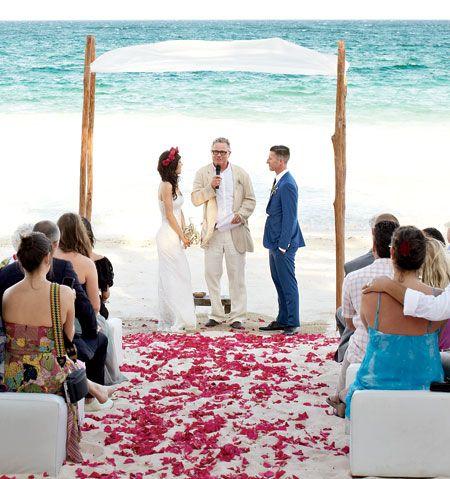 Beach wedding ceremony in Tulum, Mexico ... nice :)