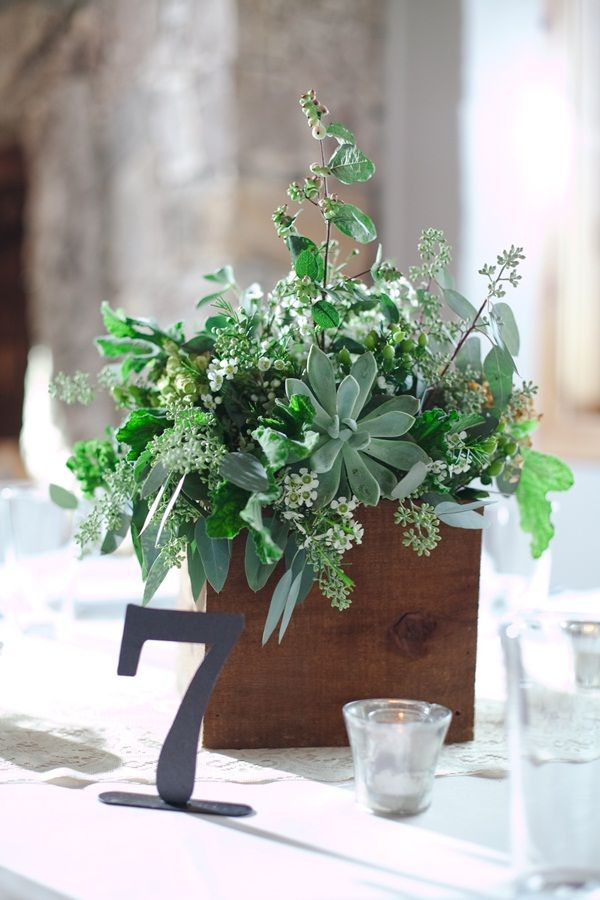 Succulent and Herb Centerpiece...would also be lovely with this at the couple's table with small succulents on center table runner throughout setting...